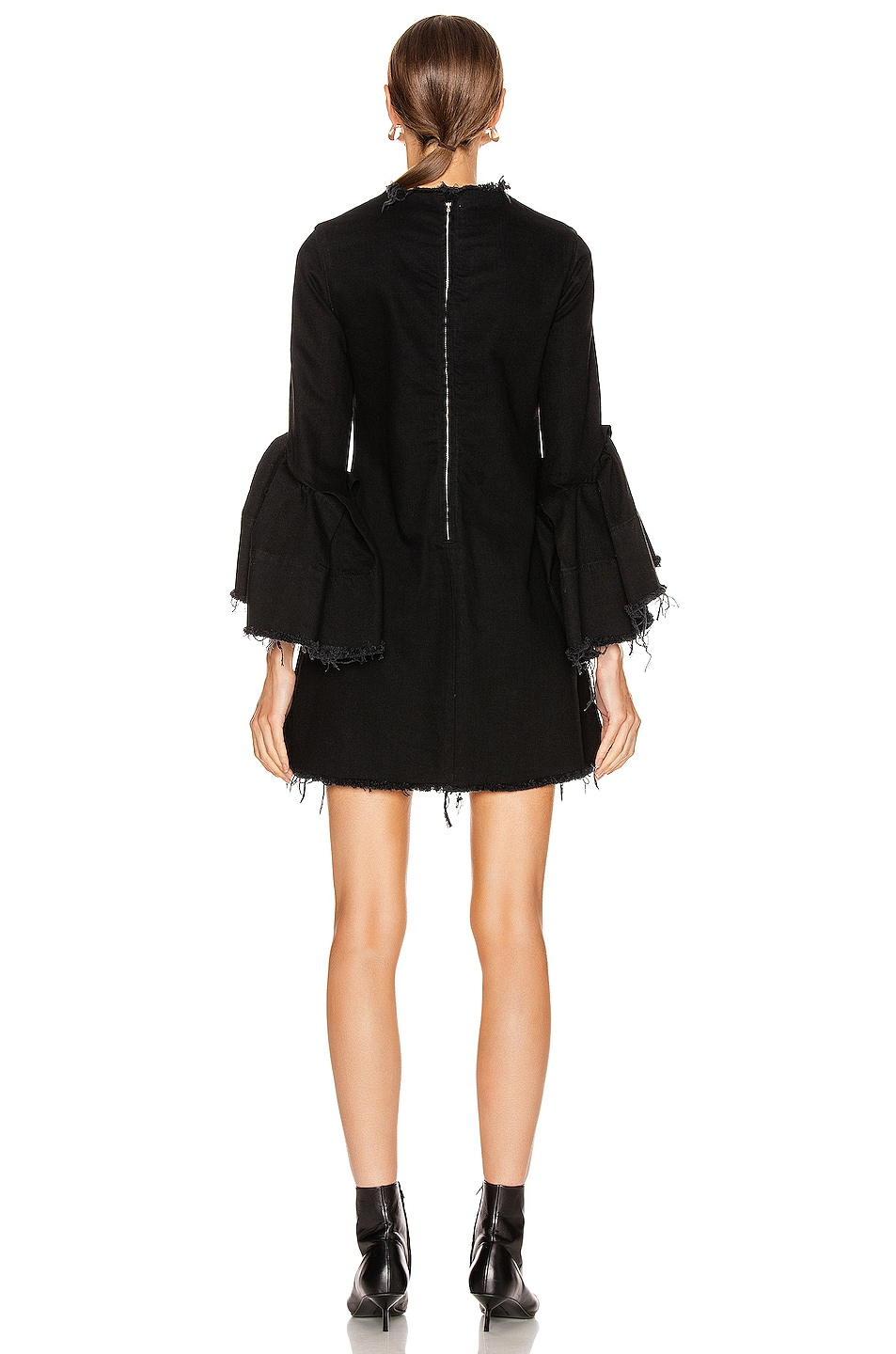 Image 3 of Marques ' Almeida Pleated Sleeve Short Dress in Black