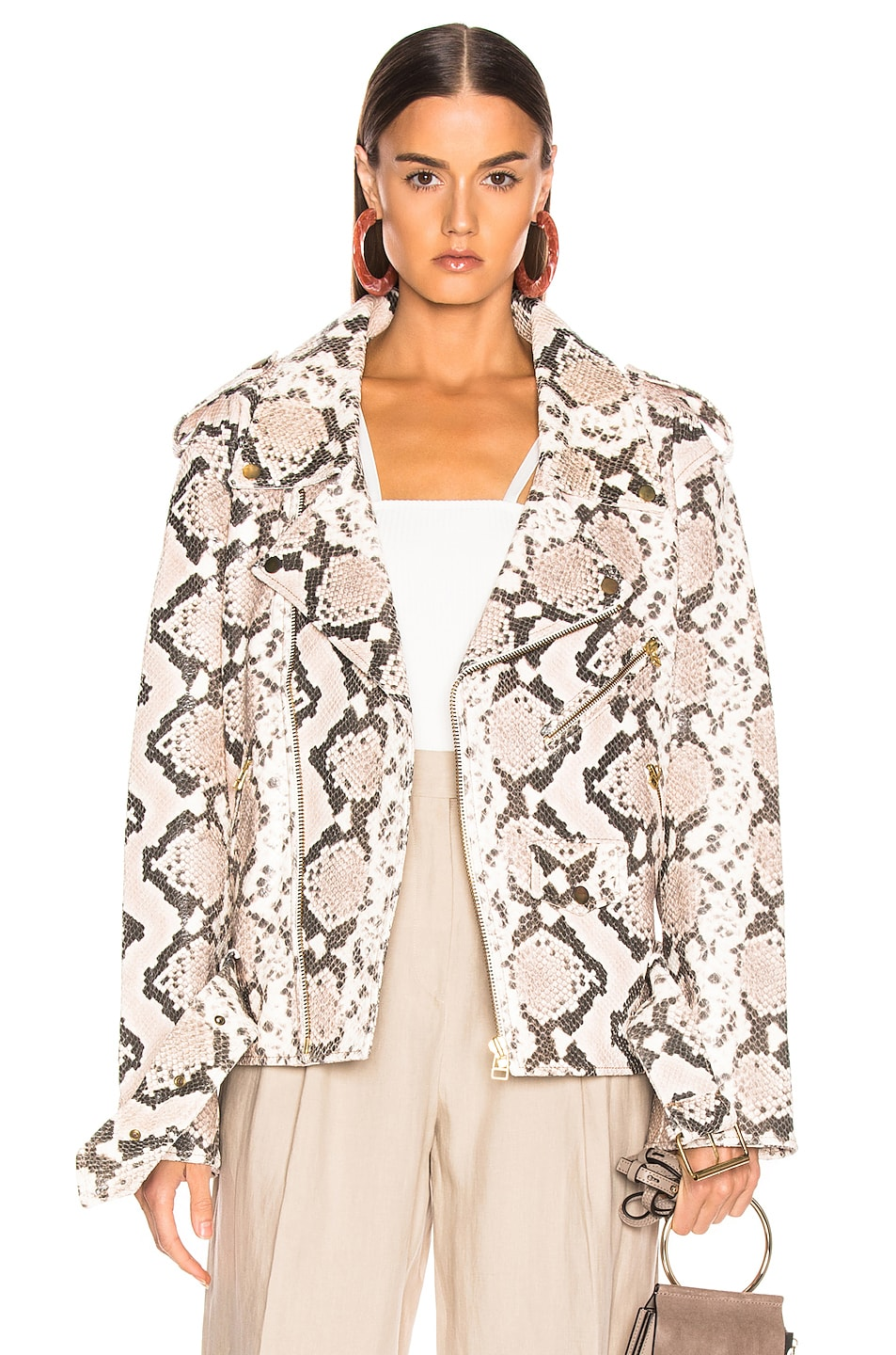 Image 1 of Marques ' Almeida Classic Leather Biker Jacket in Natural