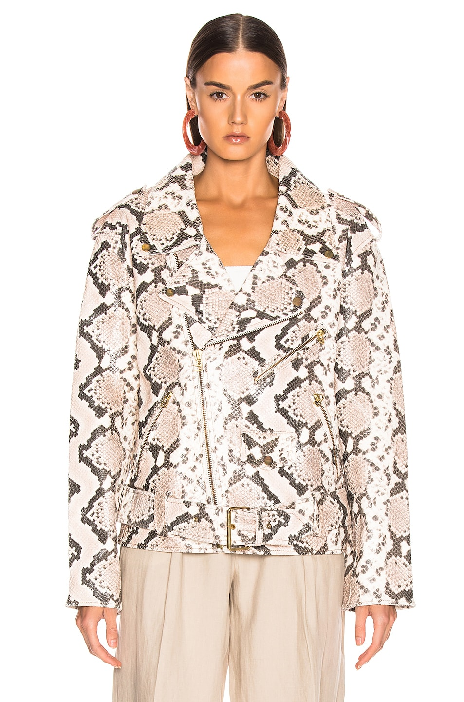 Image 2 of Marques ' Almeida Classic Leather Biker Jacket in Natural