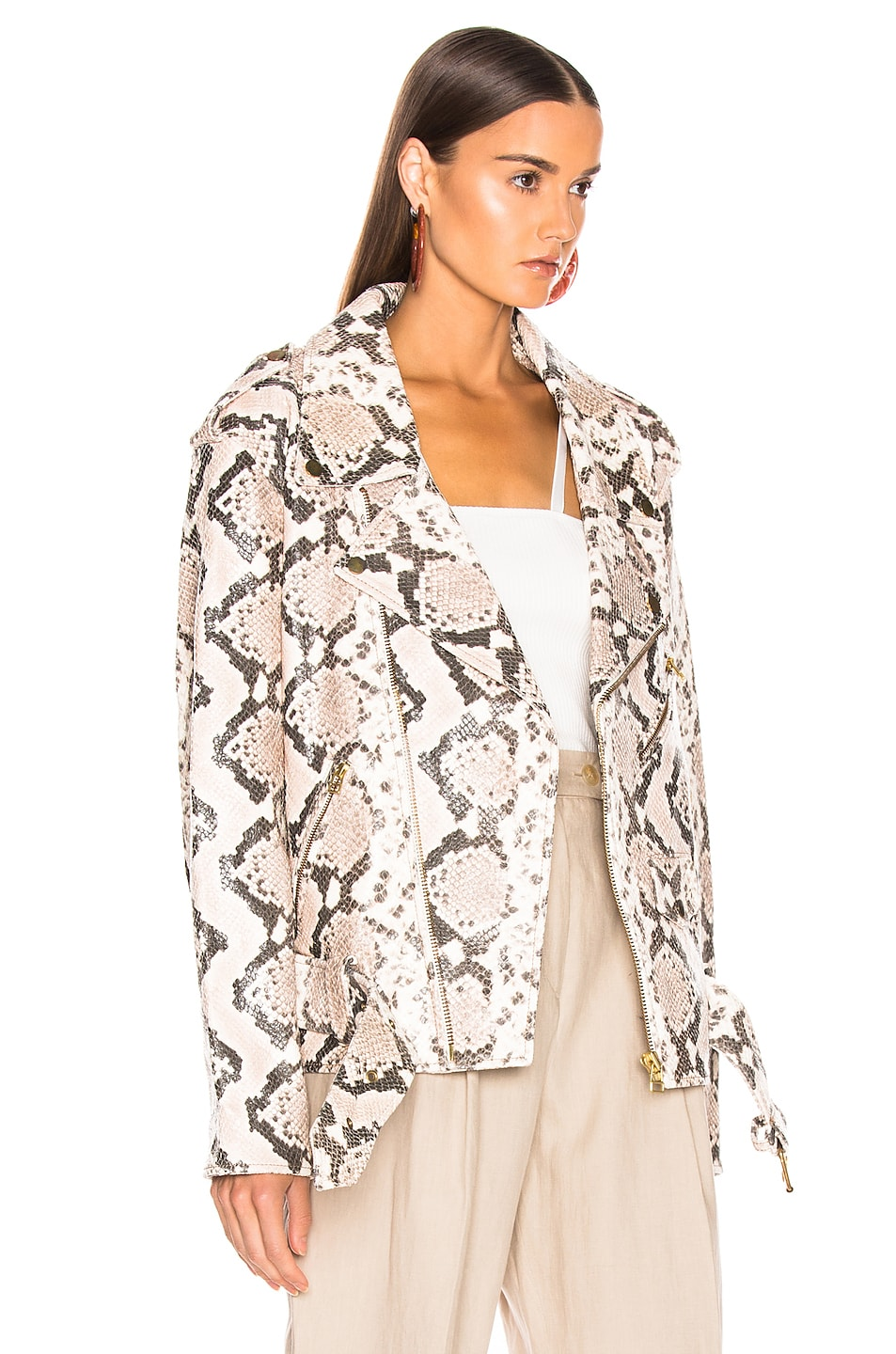 Image 3 of Marques ' Almeida Classic Leather Biker Jacket in Natural