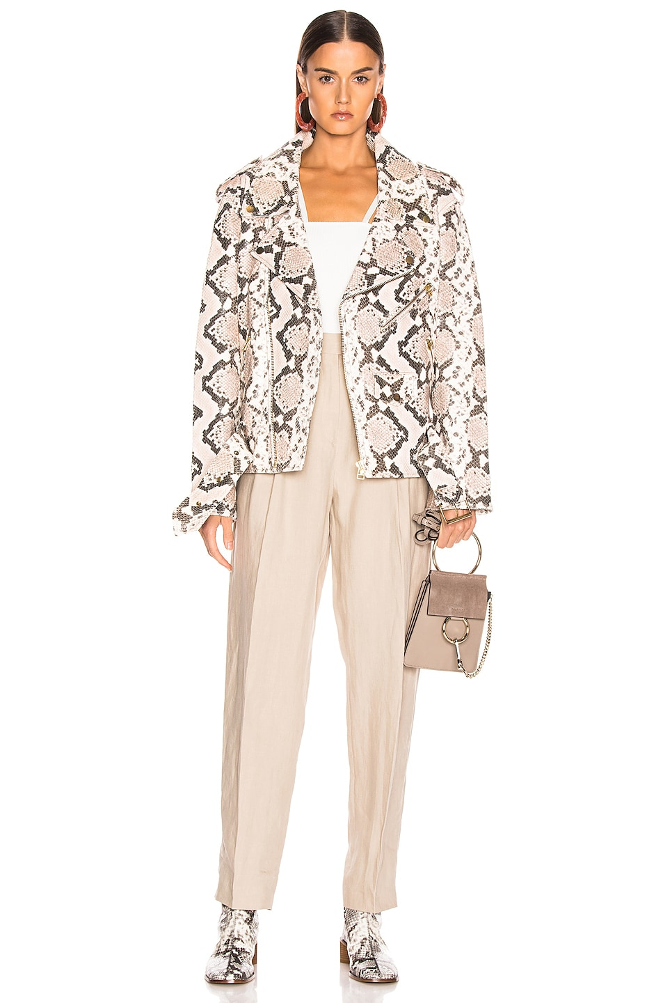 Image 6 of Marques ' Almeida Classic Leather Biker Jacket in Natural
