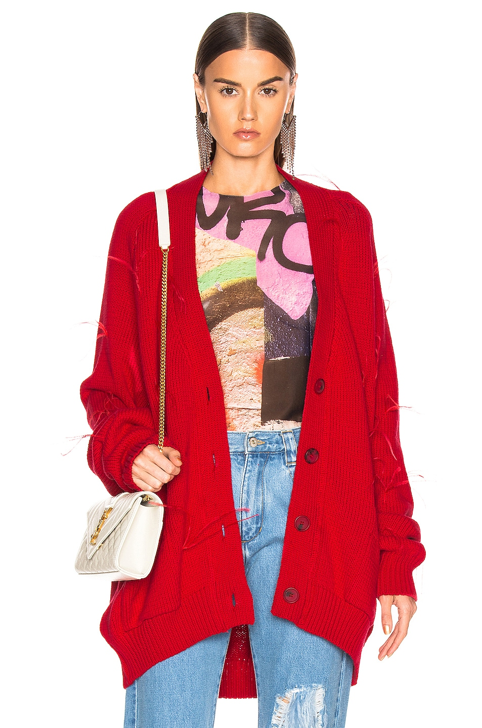 Image 1 of Marques ' Almeida Oversized Cardigan in Red