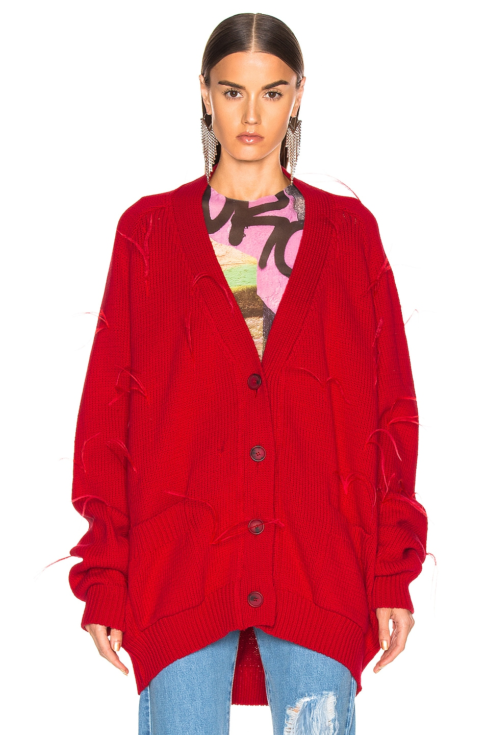 Image 2 of Marques ' Almeida Oversized Cardigan in Red