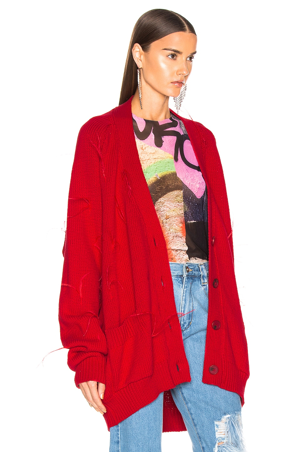 Image 3 of Marques ' Almeida Oversized Cardigan in Red