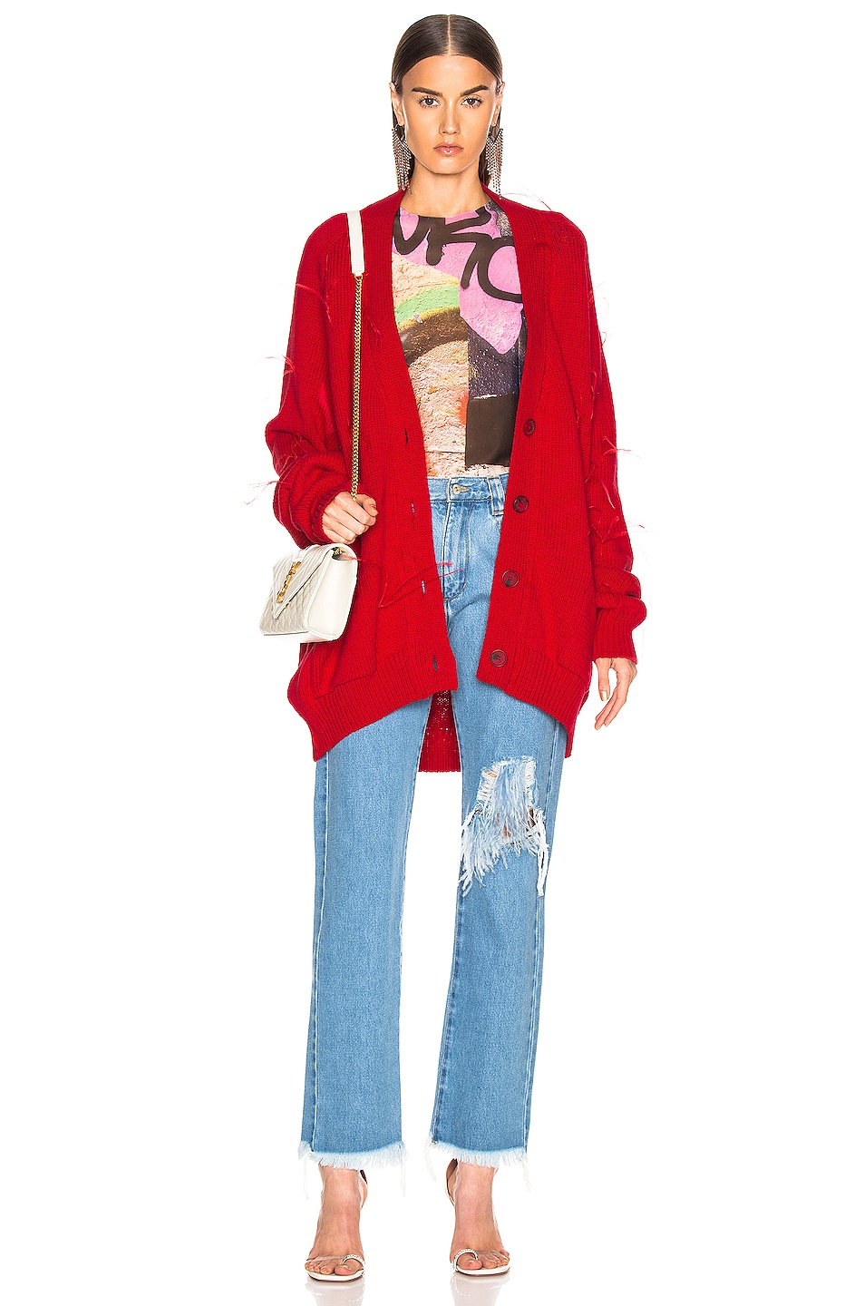 Image 5 of Marques ' Almeida Oversized Cardigan in Red