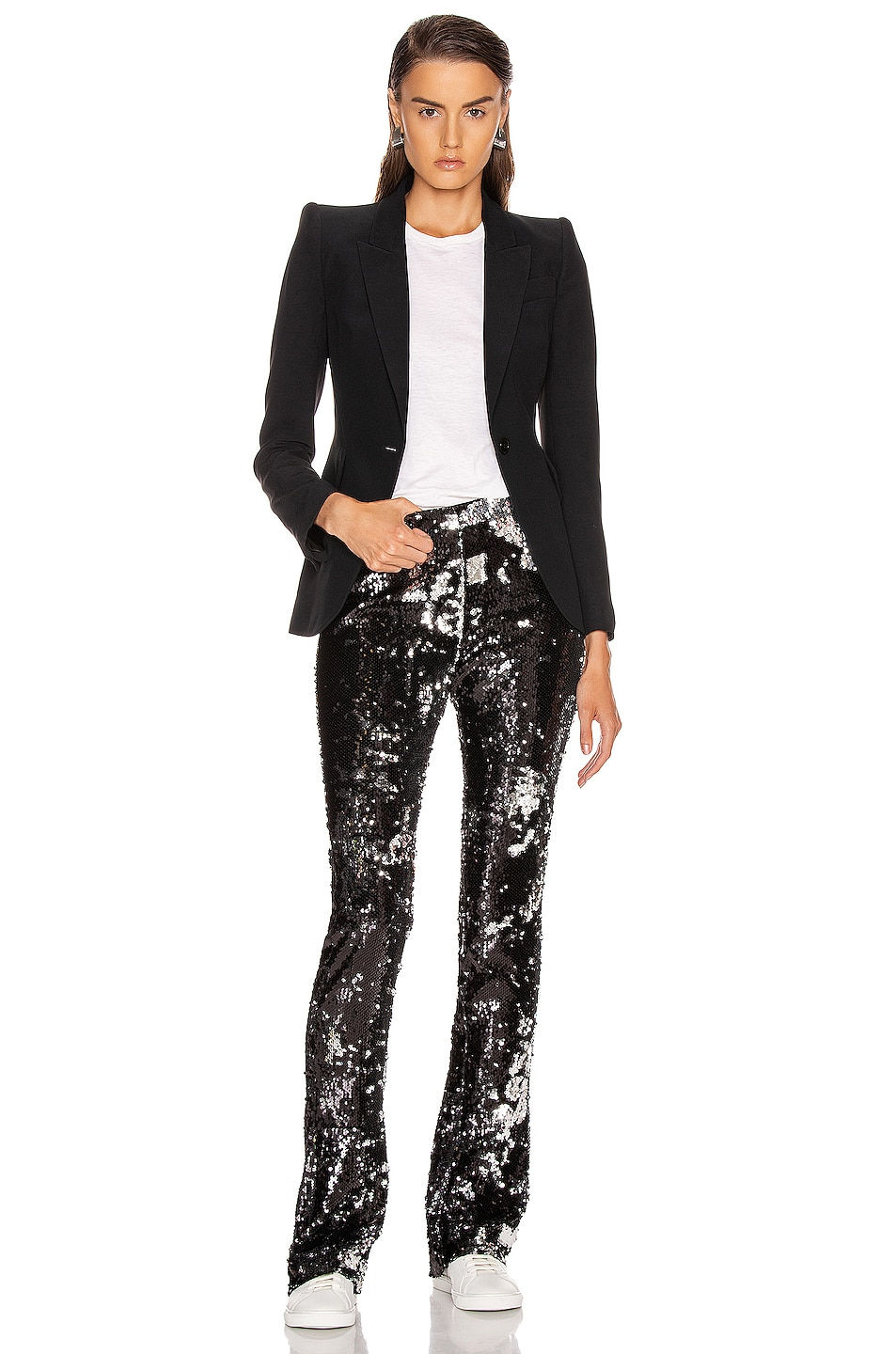 Image 4 of Marques ' Almeida Bootcut Trouser in Black & Silver
