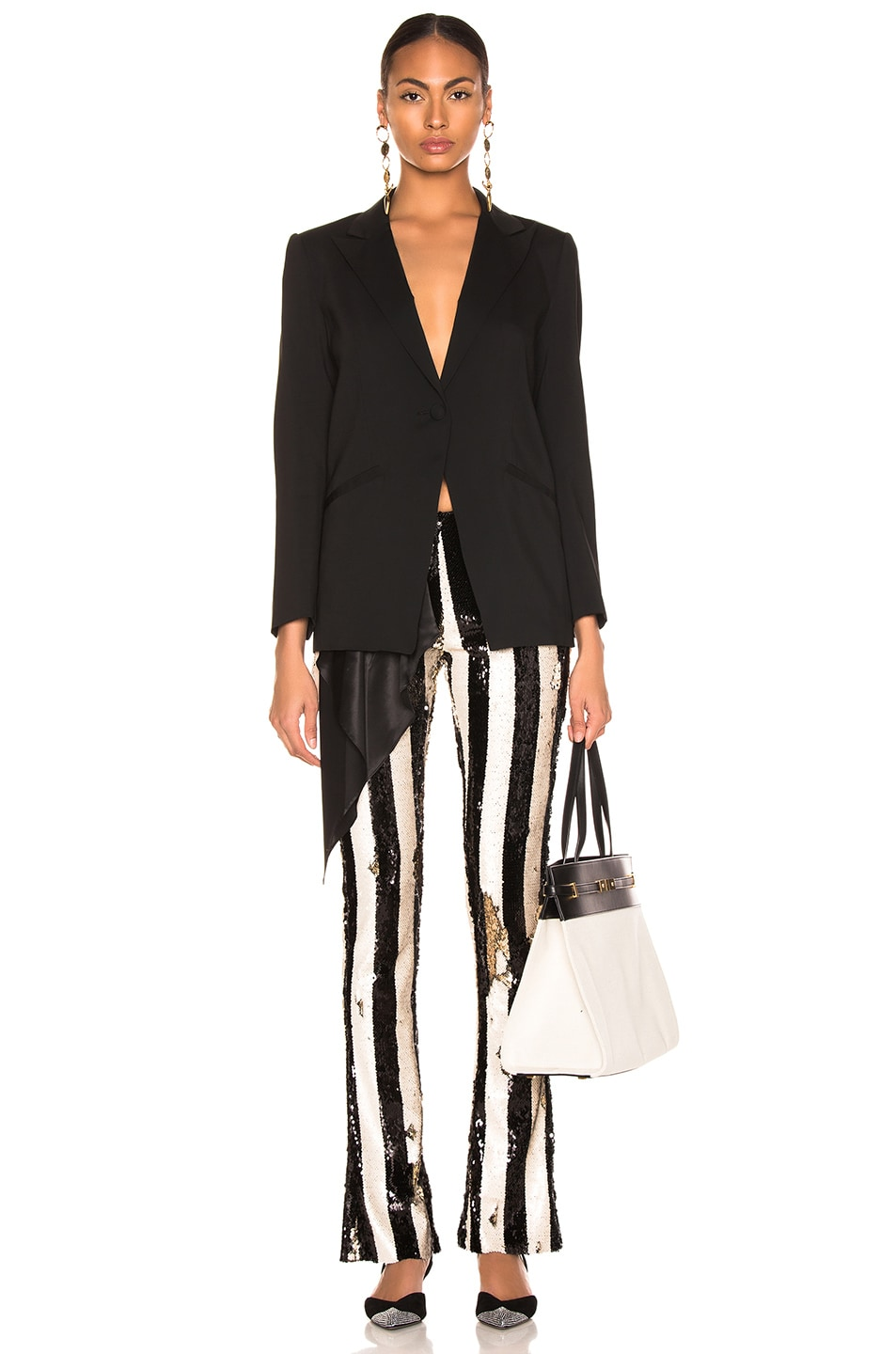 Image 4 of Marques ' Almeida Bootcut Trousers in Black & Beige