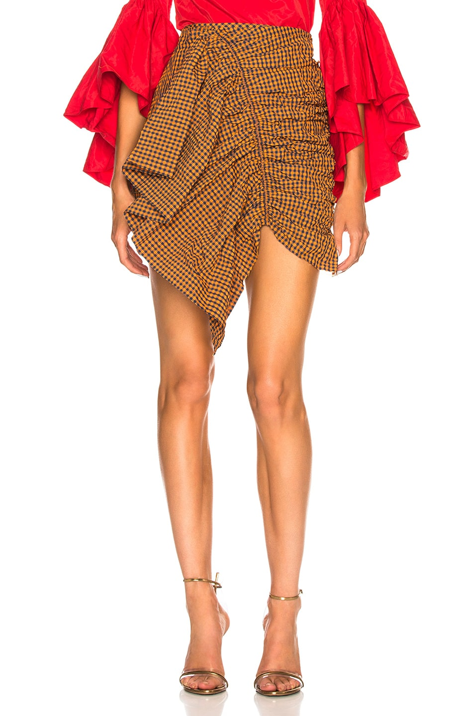 dd5822c738 Image 1 of Marques ' Almeida Gathered Front Skirt in Orange Gingham