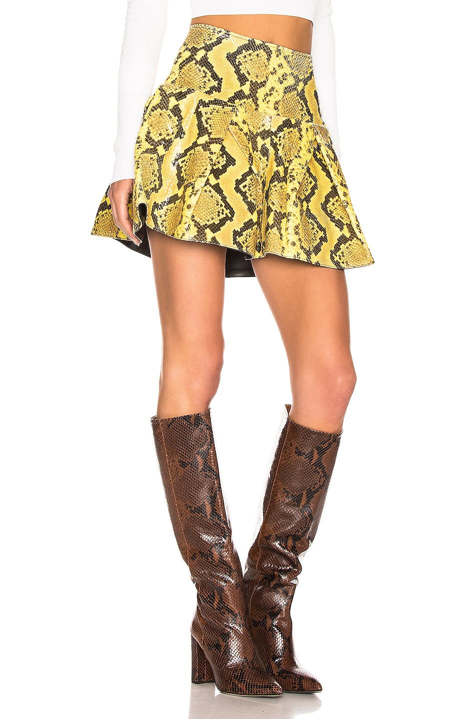 Image 2 of Marques ' Almeida Leather Pleated Mini Skirt in Yellow