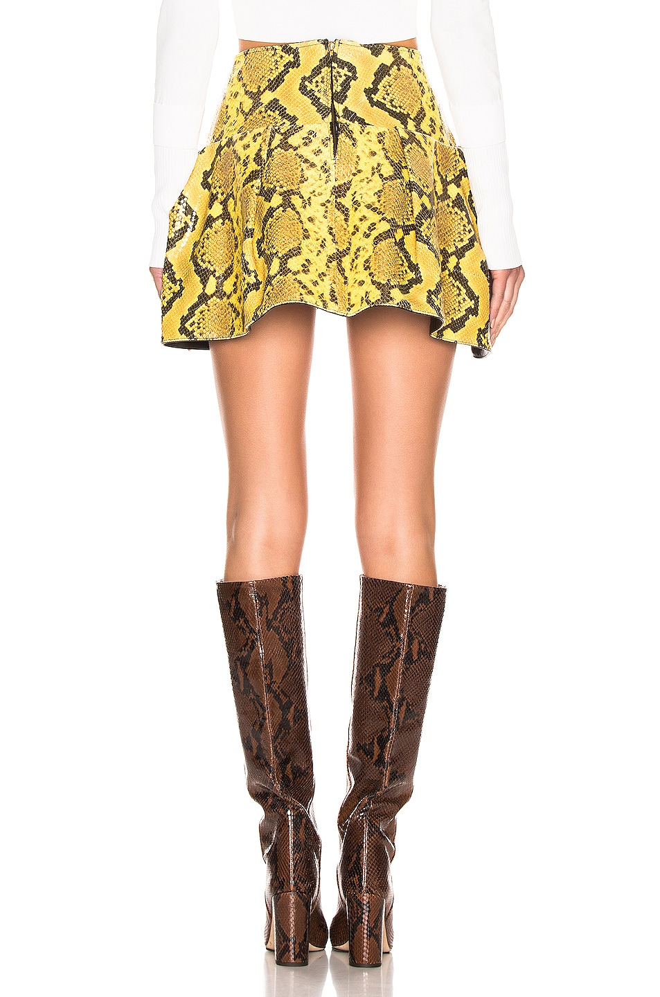 Image 3 of Marques ' Almeida Leather Pleated Mini Skirt in Yellow