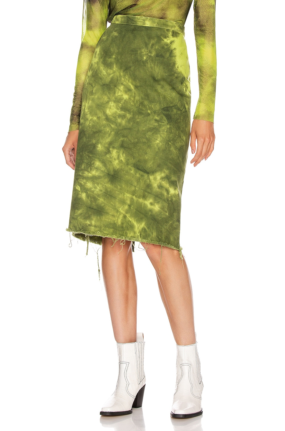 Image 1 of Marques ' Almeida Pencil Skirt in Lime Tie Dye