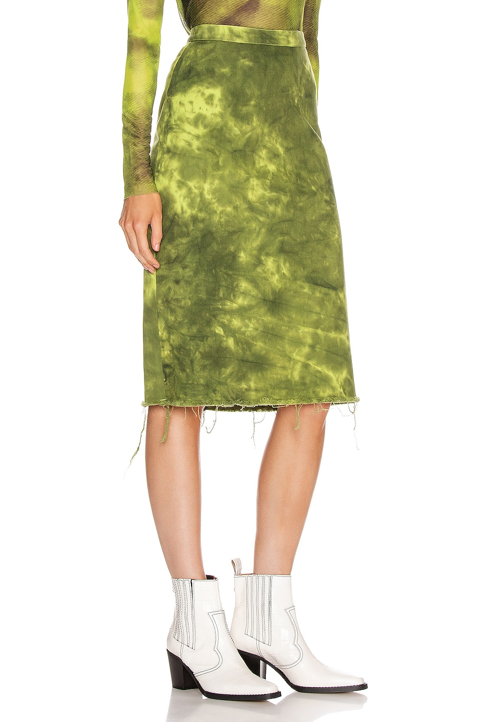 Image 2 of Marques ' Almeida Pencil Skirt in Lime Tie Dye