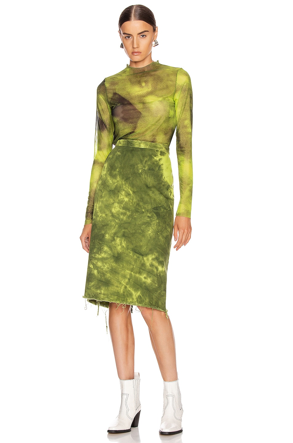 Image 4 of Marques ' Almeida Pencil Skirt in Lime Tie Dye