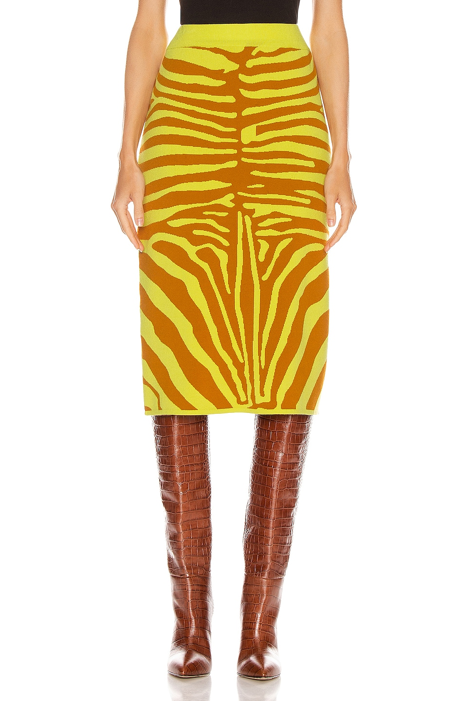Image 1 of Marques ' Almeida Jacquard Knit Tube Skirt in Zebra Lime & Brown