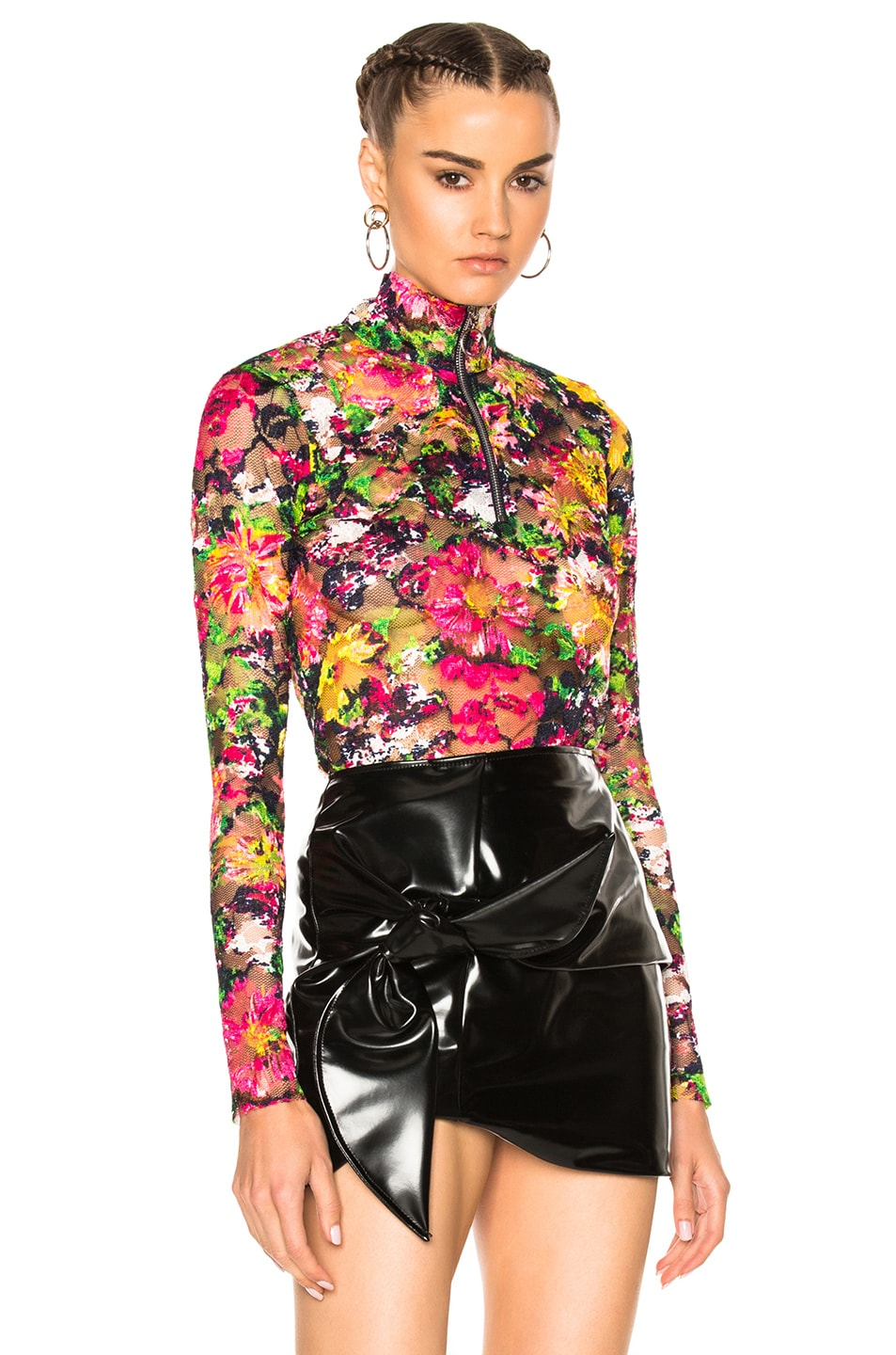 Image 1 of Marques ' Almeida Lace Zip Neck Top in Pink