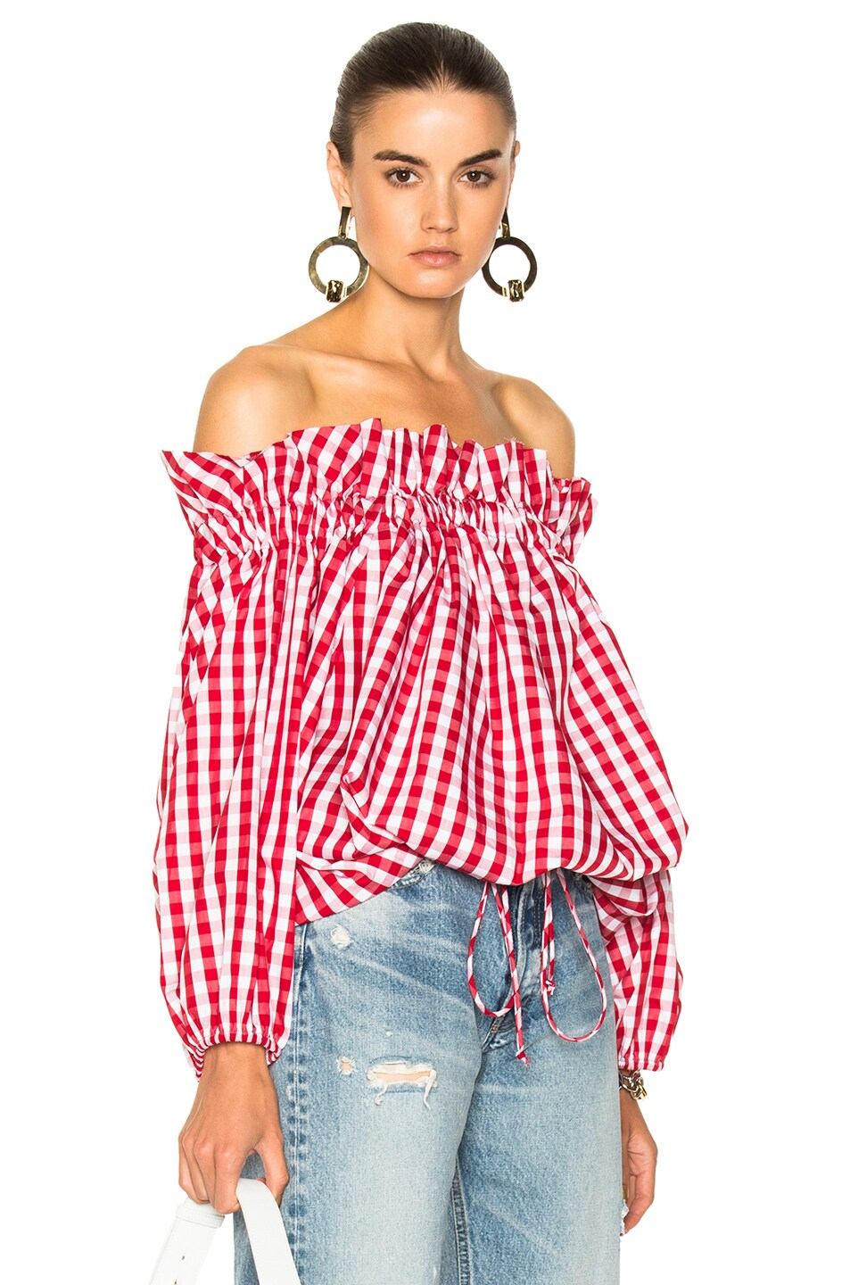 Image 1 of Marques ' Almeida for FWRD Off Shoulder Gingham Blouse in Red Gingham
