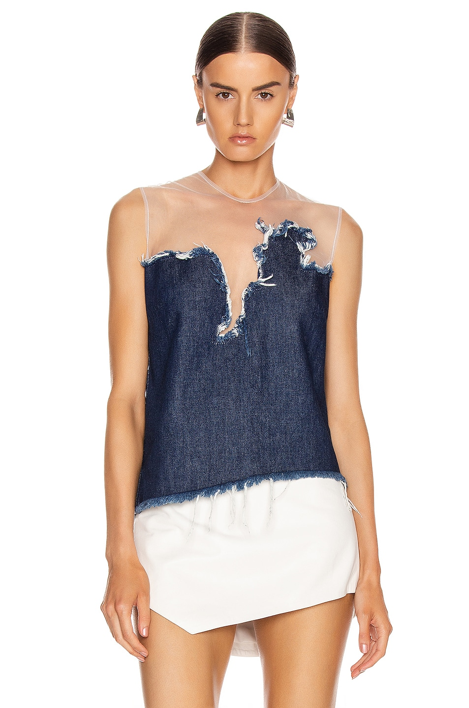 Image 2 of Marques ' Almeida Ripped Tulle Top in Indigo Blue