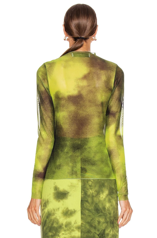 Image 3 of Marques ' Almeida Long Sleeve Mesh Top in Lime Tie Dye