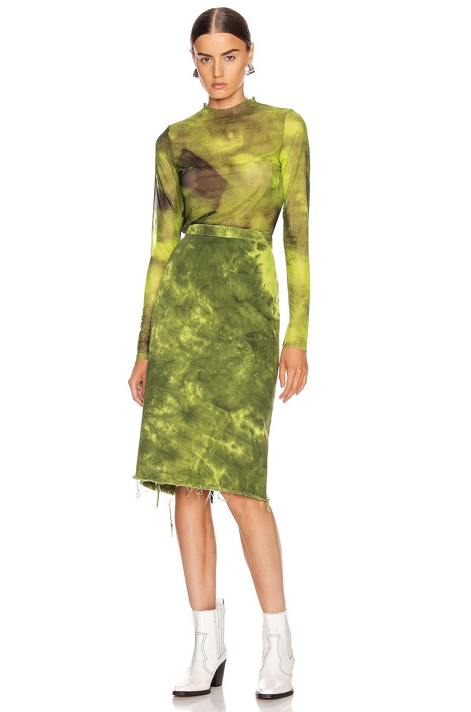 Image 4 of Marques ' Almeida Long Sleeve Mesh Top in Lime Tie Dye