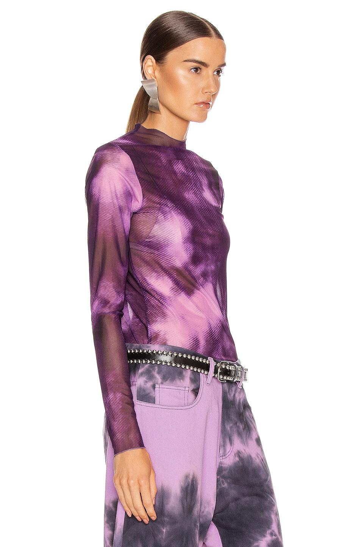 Image 2 of Marques ' Almeida Long Sleeve Mesh Top in Purple Tie Dye