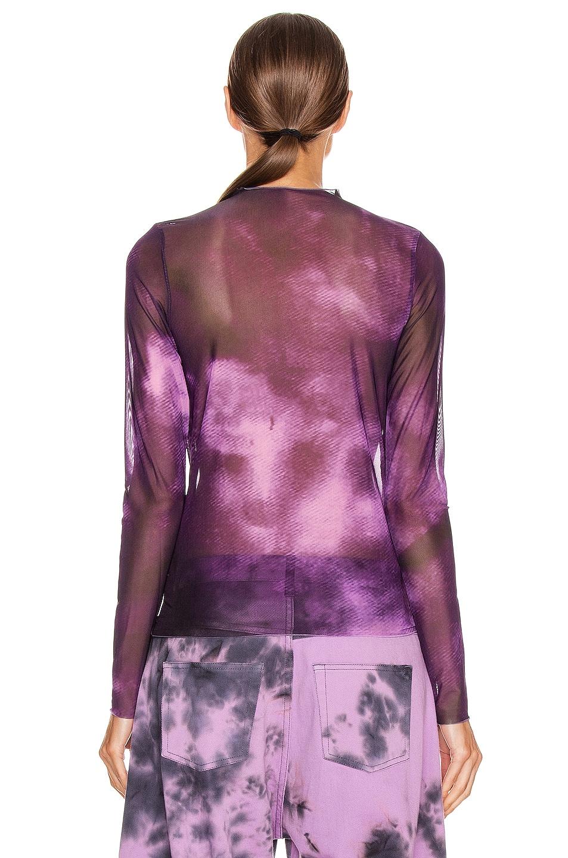 Image 3 of Marques ' Almeida Long Sleeve Mesh Top in Purple Tie Dye
