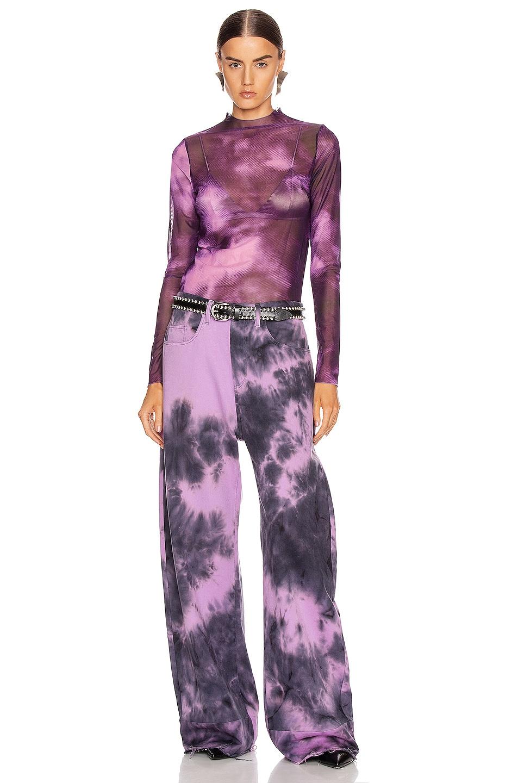Image 4 of Marques ' Almeida Long Sleeve Mesh Top in Purple Tie Dye