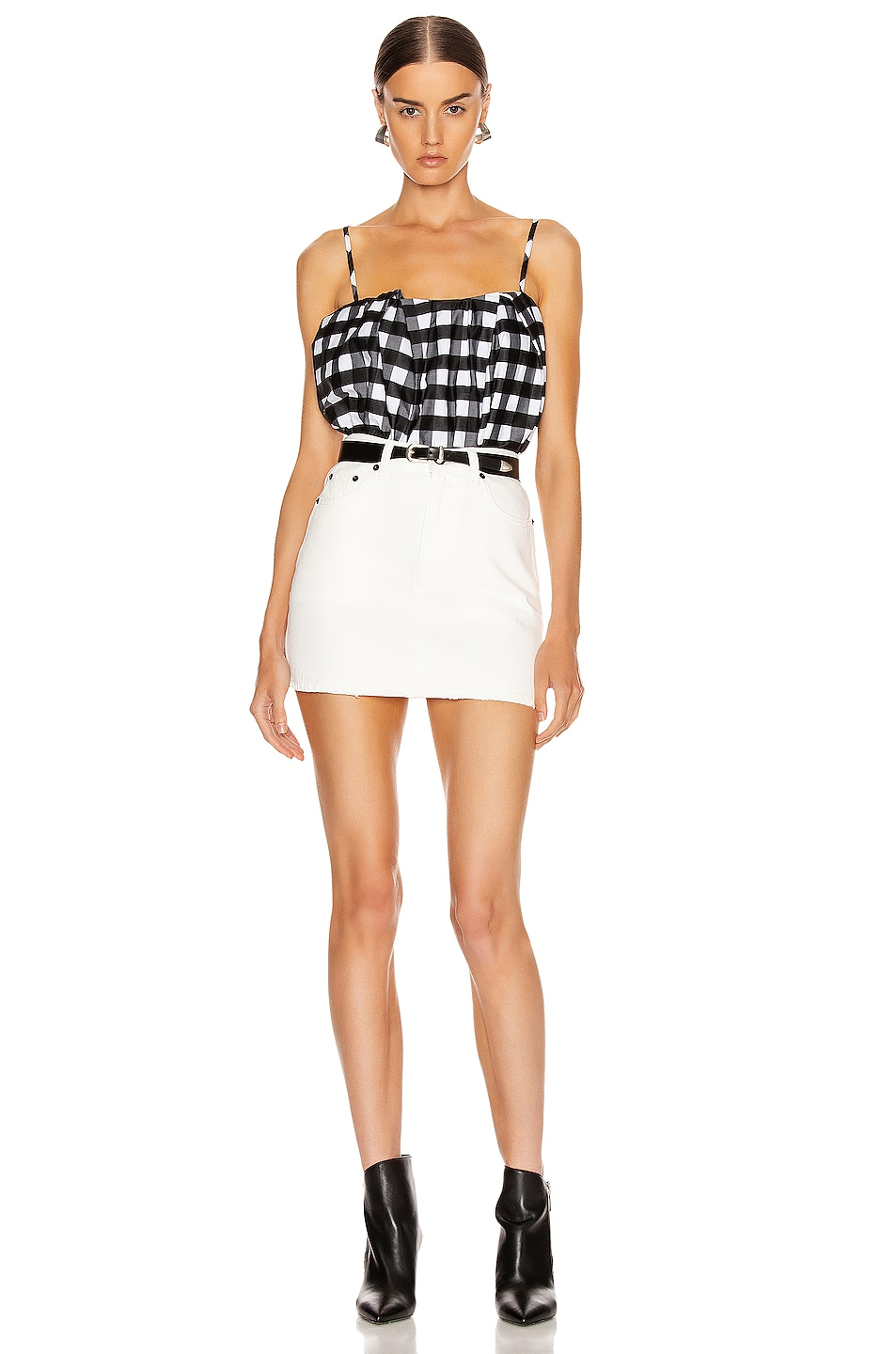 Image 4 of Marques ' Almeida Pleated Slip Top in Black & White