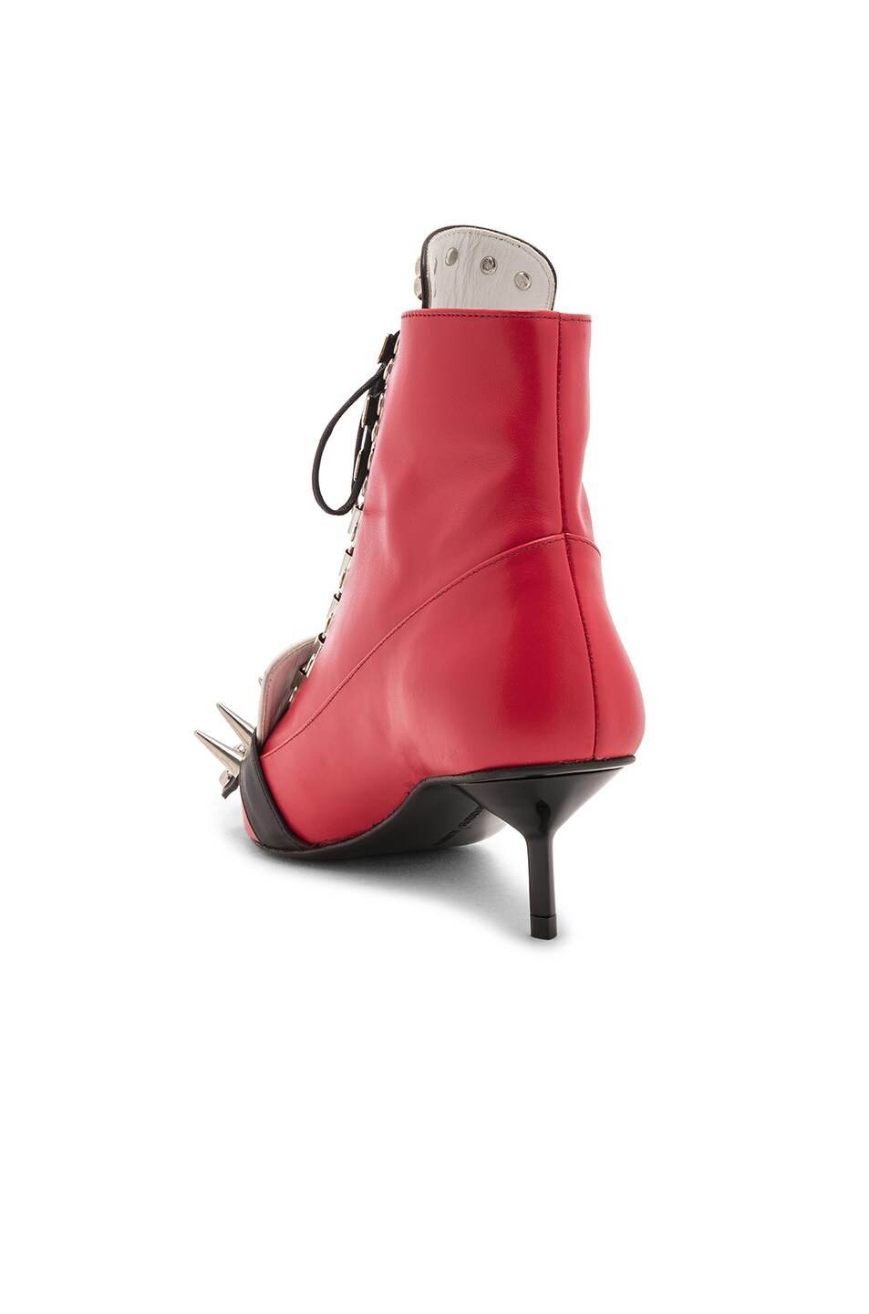 Image 3 of Marques ' Almeida Fitted Spiked Boot in Red & White