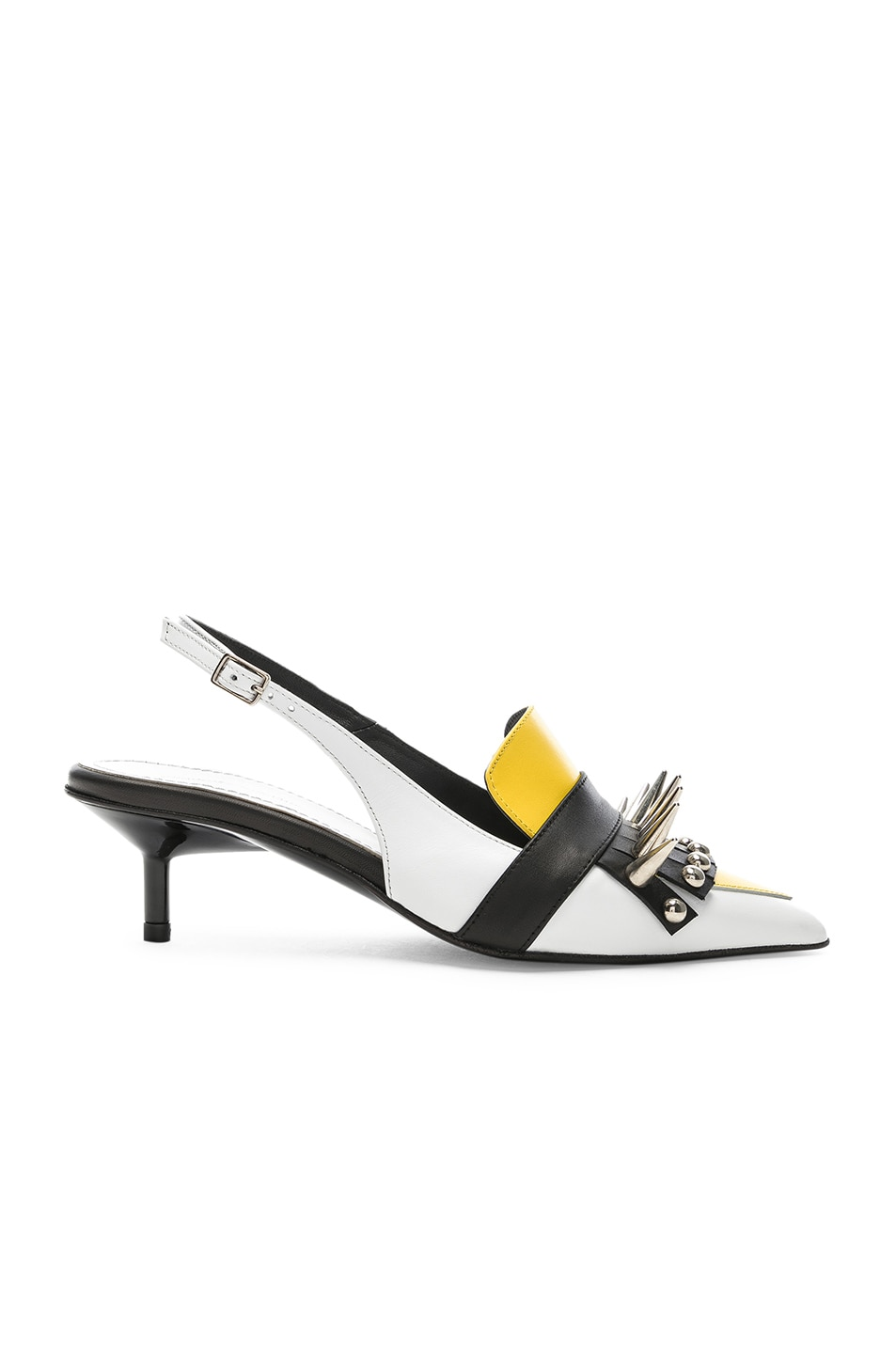 Image 1 of Marques ' Almeida Spiked Leather Slingback Mules in White & Yellow