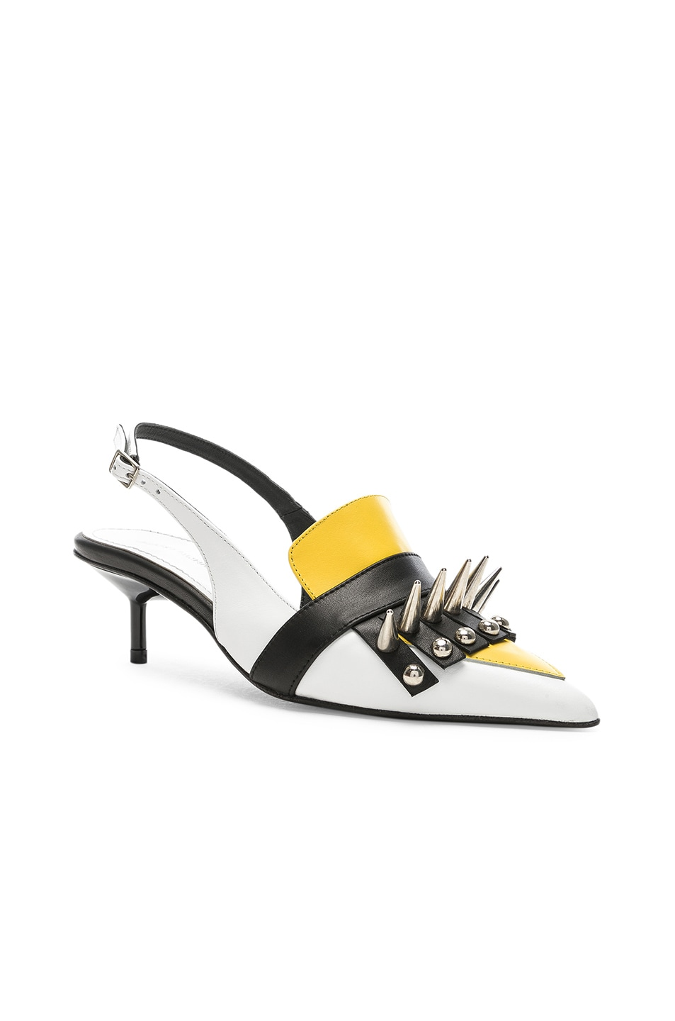 Image 2 of Marques ' Almeida Spiked Leather Slingback Mules in White & Yellow