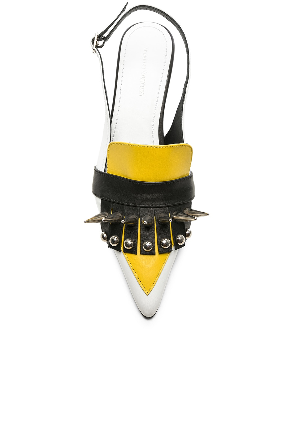 Image 4 of Marques ' Almeida Spiked Leather Slingback Mules in White & Yellow