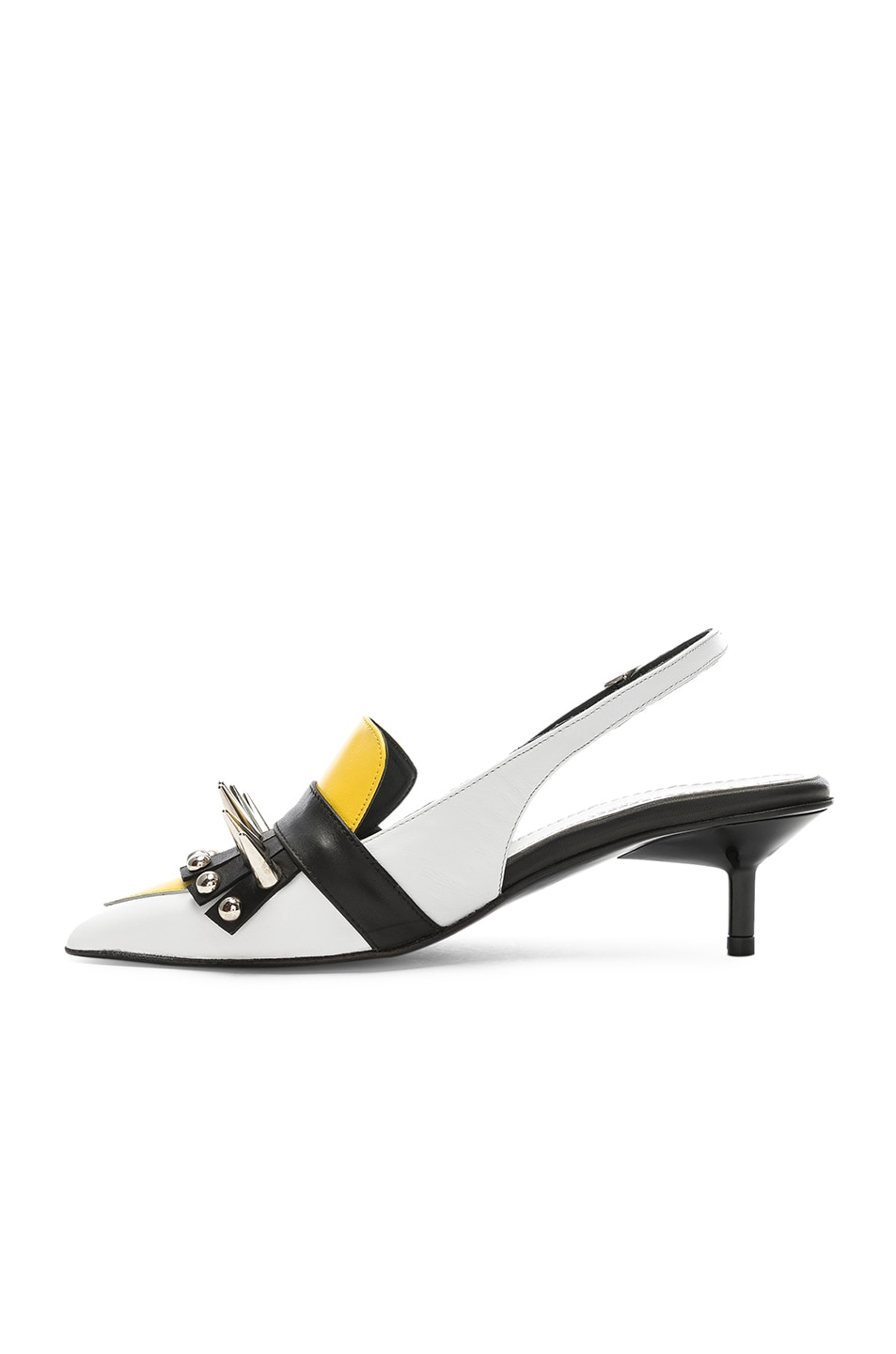 Image 5 of Marques ' Almeida Spiked Leather Slingback Mules in White & Yellow