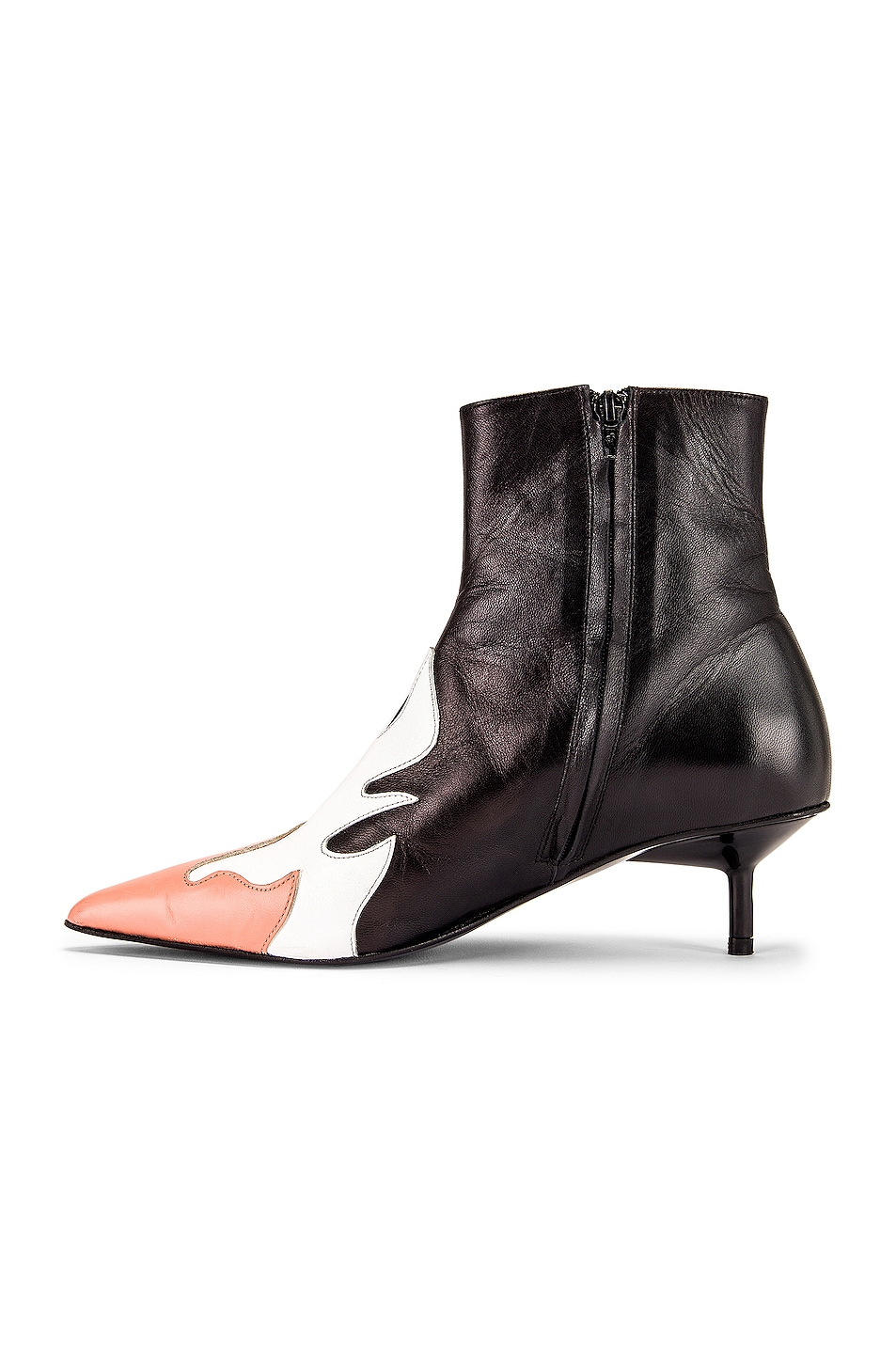 Image 5 of Marques ' Almeida Pointy Kitten Heel Flame Boot in Black, White & Pink