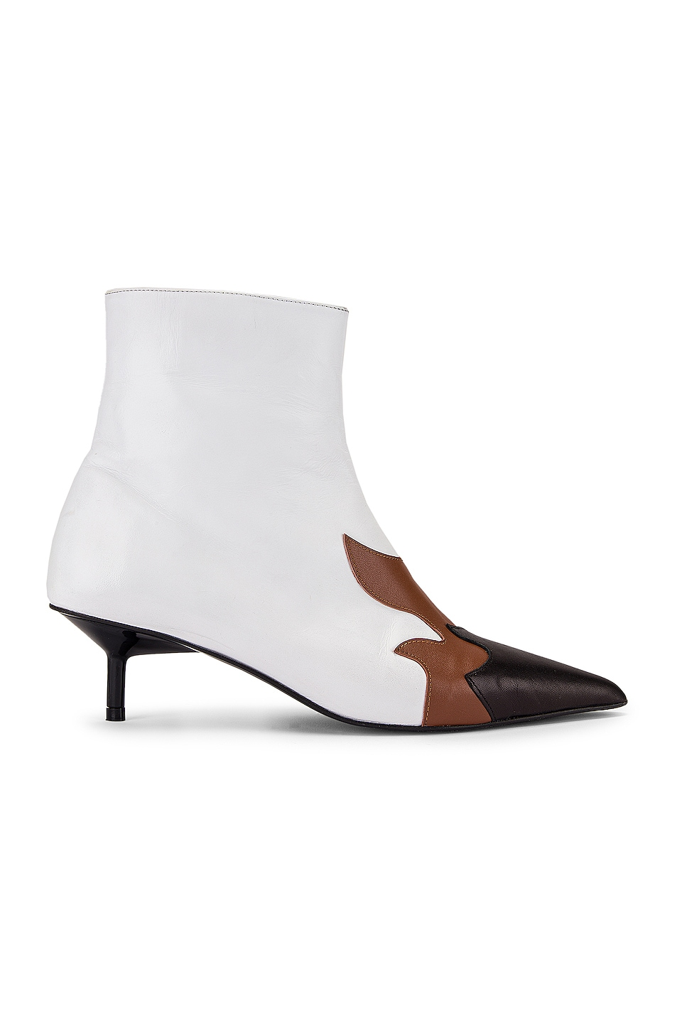Image 1 of Marques ' Almeida Pointy Kitten Heel Flame Boot in White, Brown & Black