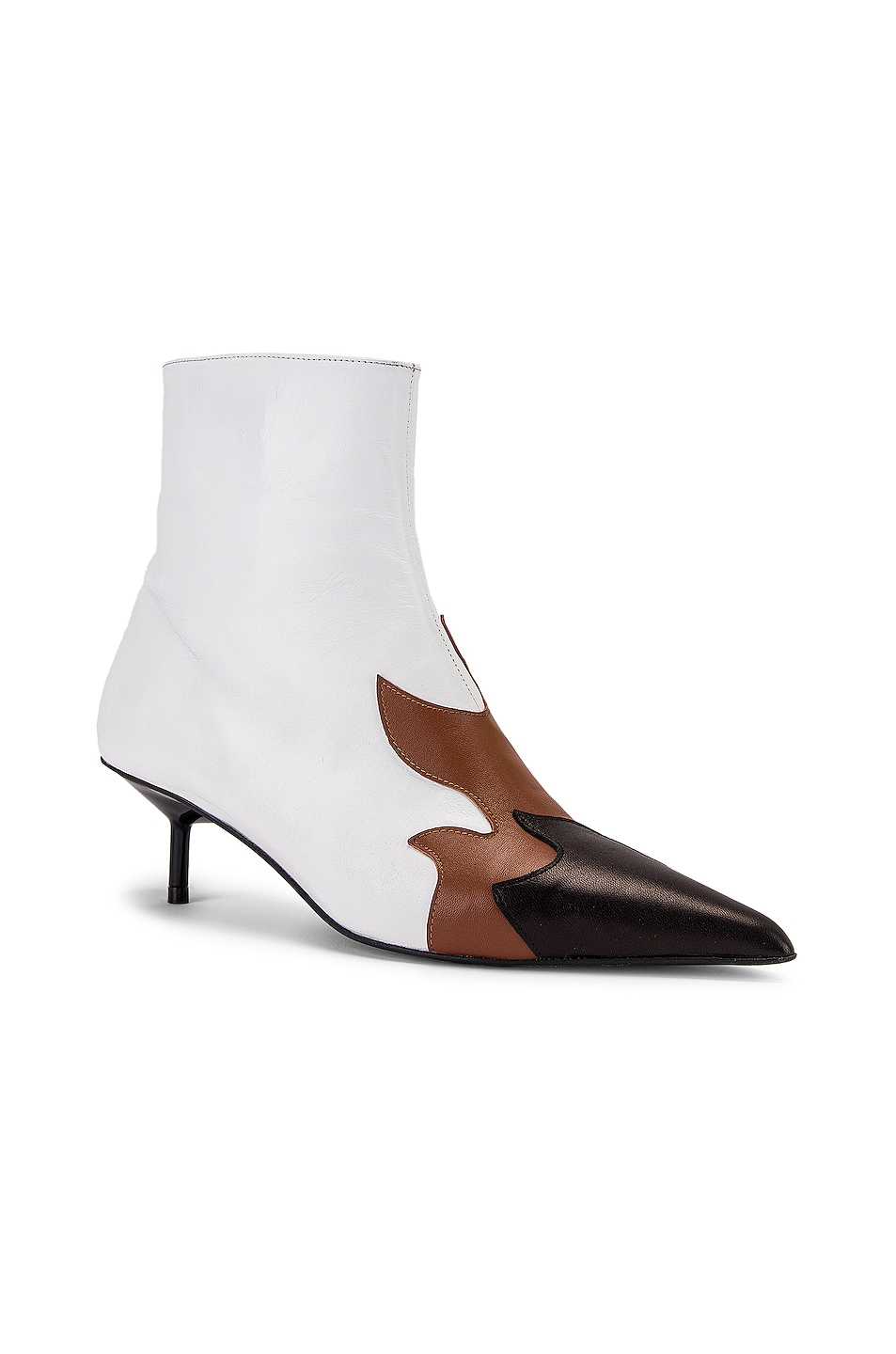 Image 2 of Marques ' Almeida Pointy Kitten Heel Flame Boot in White, Brown & Black