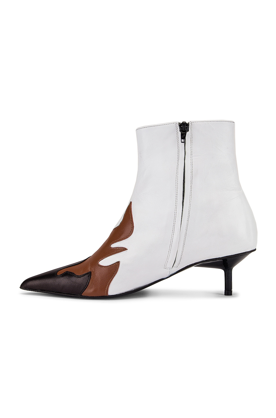 Image 5 of Marques ' Almeida Pointy Kitten Heel Flame Boot in White, Brown & Black