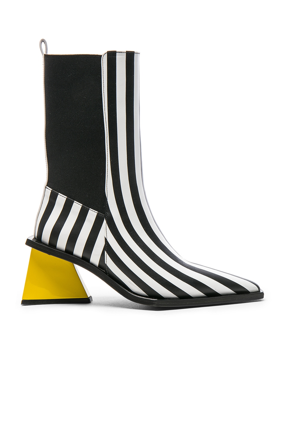 Image 1 of Marques ' Almeida Pointy Mid Leather Heel Boots in Black & White Stripe