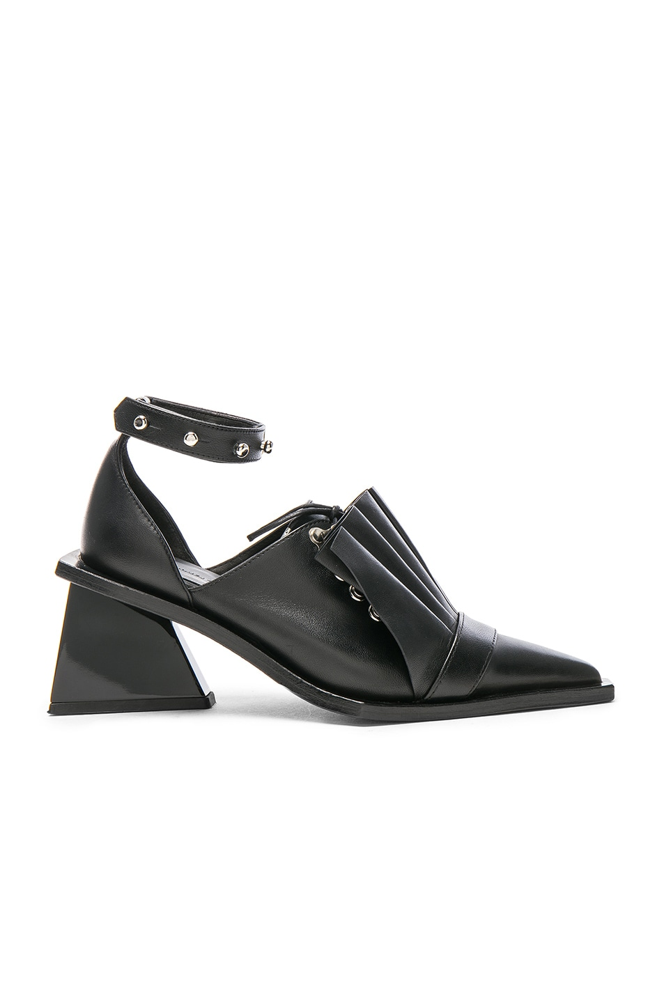 Image 1 of Marques ' Almeida Pointy Frill Lace Up Leather Shoes in Black