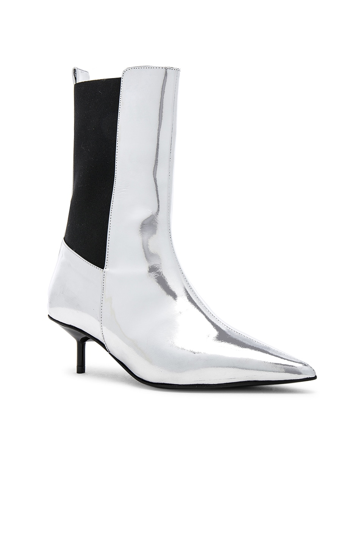 MARQUES'ALMEIDA Leather Pointy Kitten Heel Boots in Metallic .