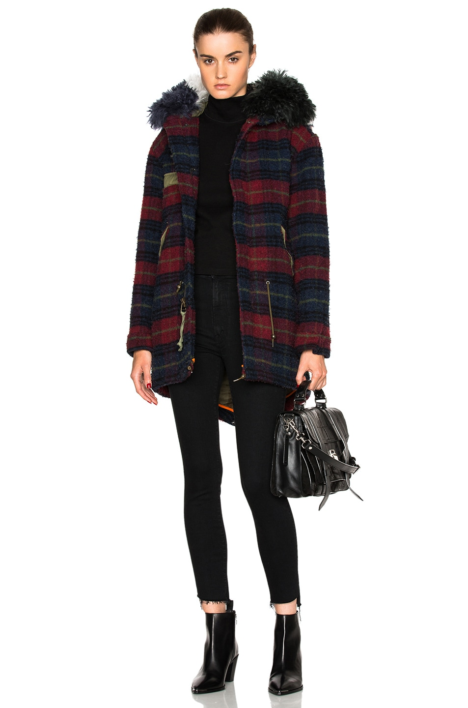 Image 1 of Mr & Mrs Italy Midi Parka Jacket in Plaid