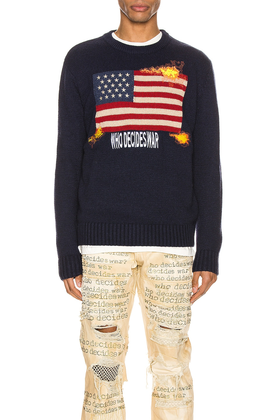 Image 1 of Who Decides War by Ev Bravado Who Decides War Knit Pullover in Navy