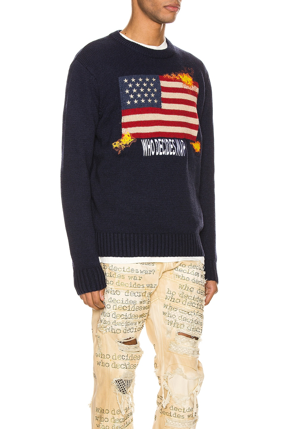 Image 2 of Who Decides War by Ev Bravado Who Decides War Knit Pullover in Navy