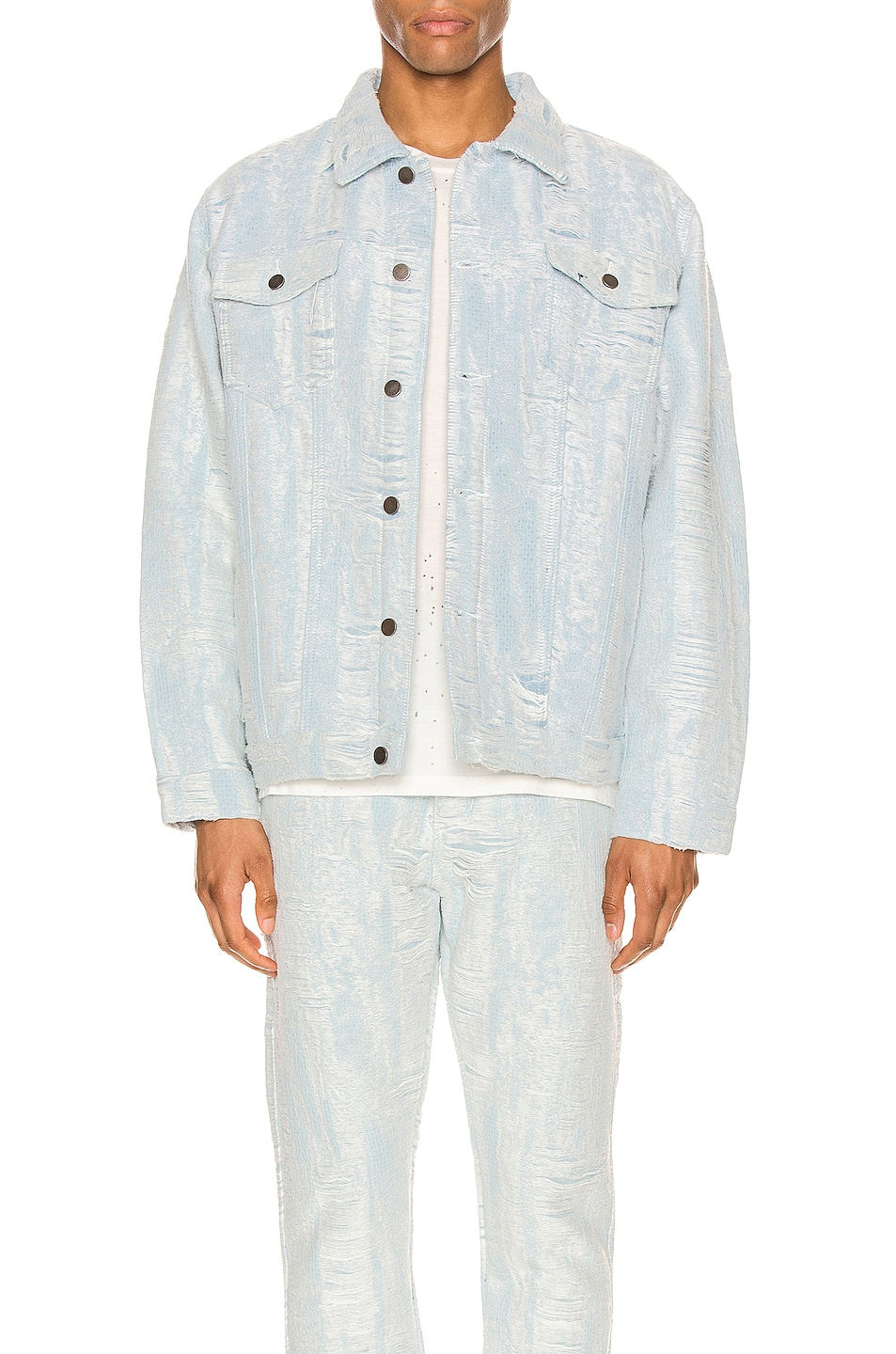 Image 1 of Who Decides War by Ev Bravado Distressed Storm Denim Jacket in Denim