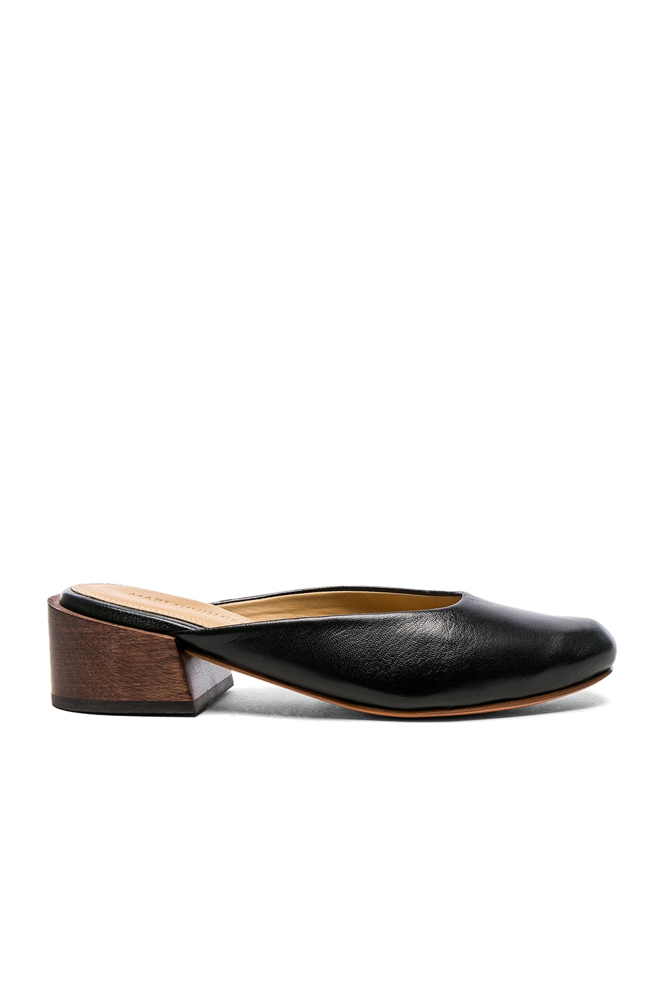 Image 1 of MARI GIUDICELLI Leather Leblon Mules in Preto Calf