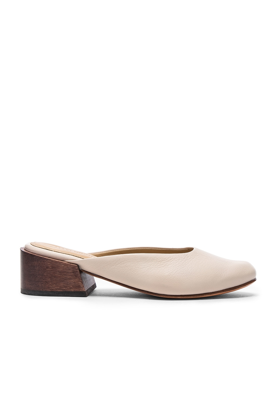 Image 1 of MARI GIUDICELLI Leather Leblon Mules in Stardust Calf