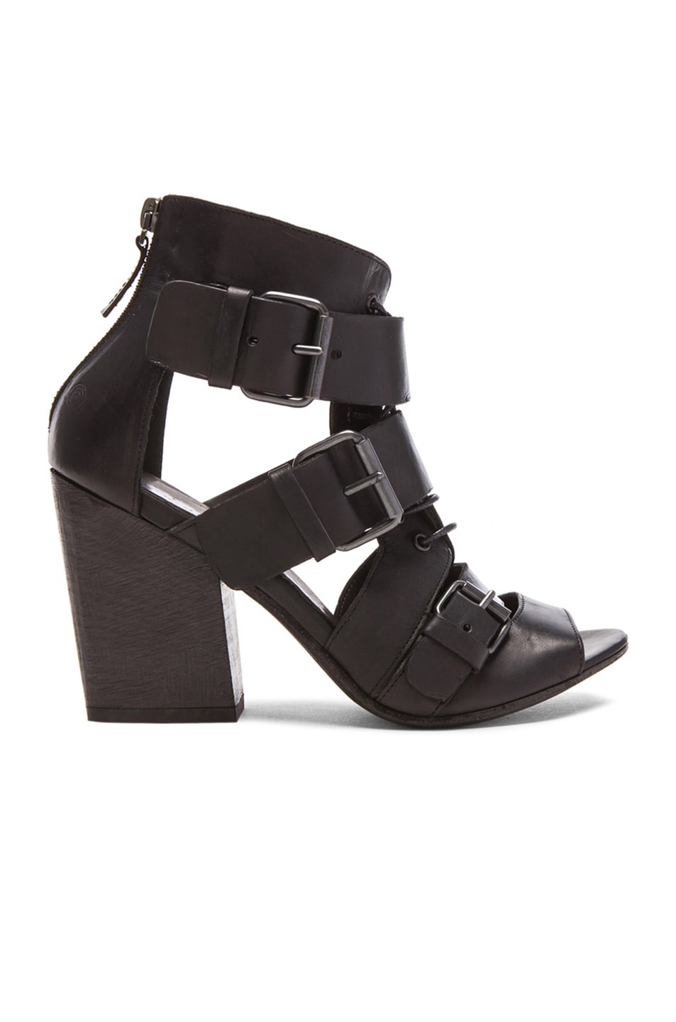 Image 1 of Marsell Buckled Lace Up Leather Booties in Black