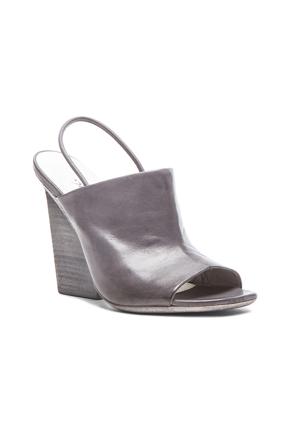 Image 2 of Marsell Chunky Heel Open Toe Leather Sandals in Lead