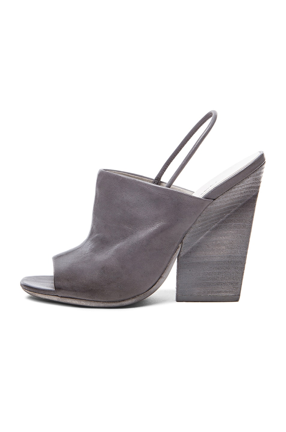 Image 5 of Marsell Chunky Heel Open Toe Leather Sandals in Lead