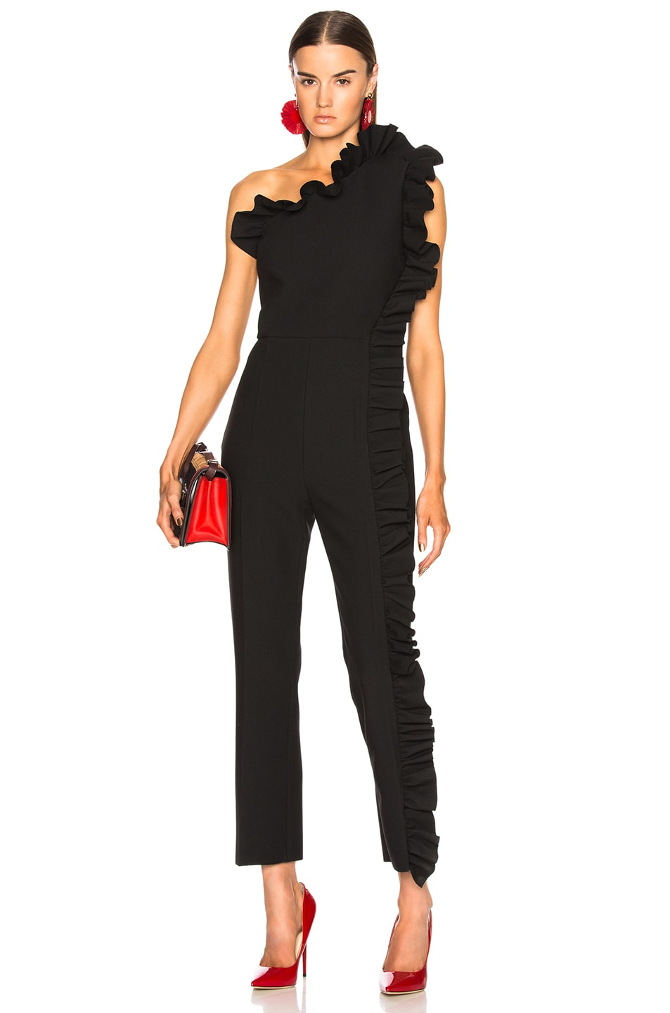 Image 1 of MSGM One Shoulder Ruffle Jumpsuit in Black