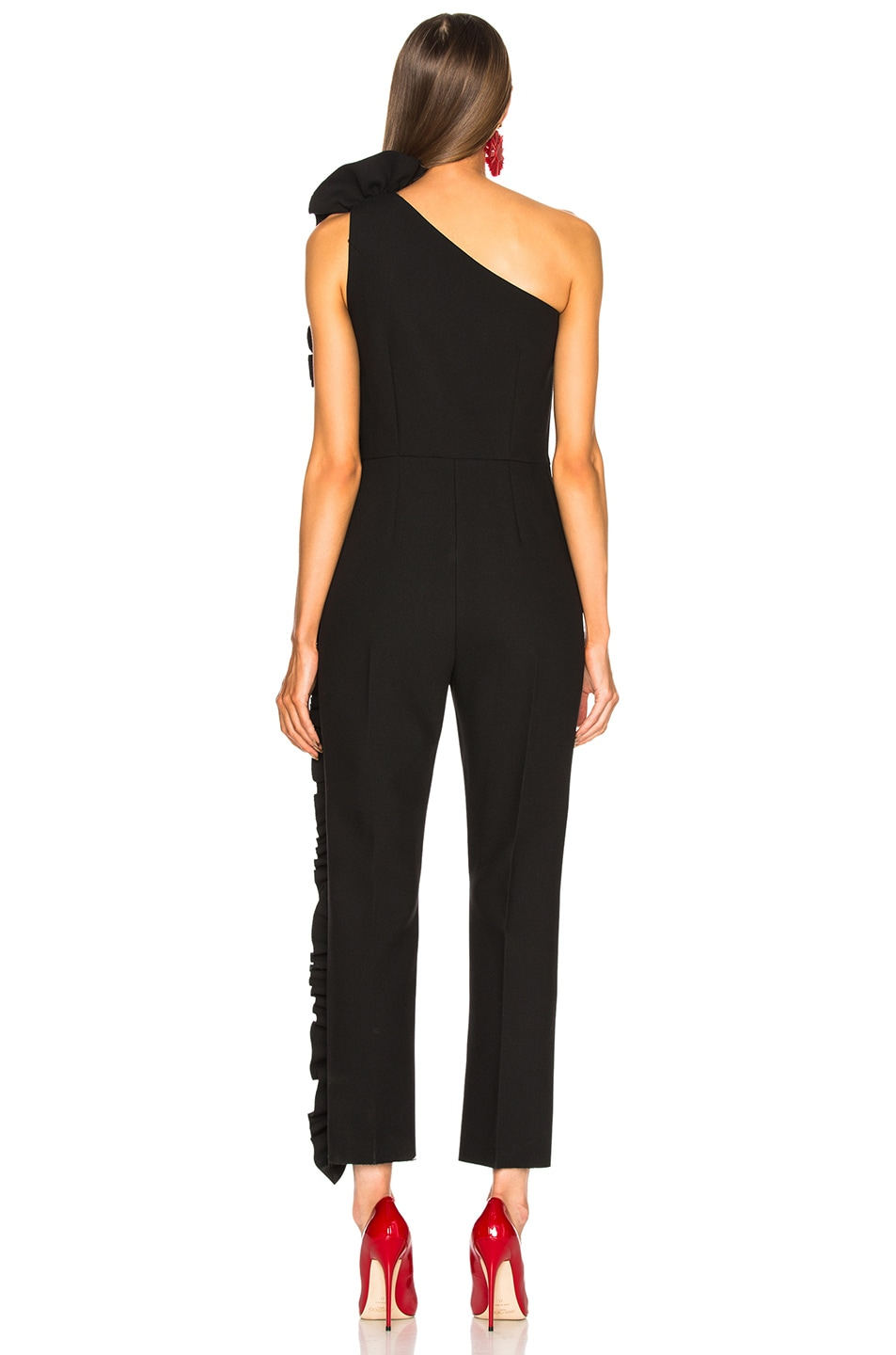 Image 4 of MSGM One Shoulder Ruffle Jumpsuit in Black